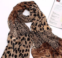 Load image into Gallery viewer, Green Silk Scarf Leopard Print Scarf Shawl  SF33