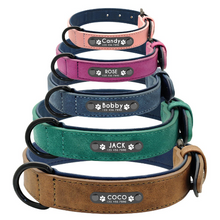 Load image into Gallery viewer, Leather Dog Collar Customized Dog Collar With Pet Id Tag Engraved Nameplate