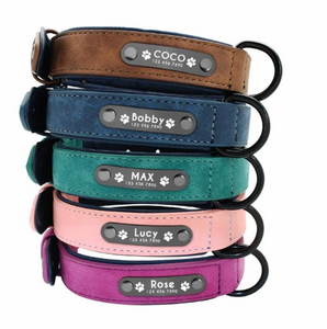 Leather Dog Collar Customized Dog Collar With Pet Id Tag Engraved Nameplate