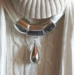 Silver Drop Scarf Jewelry Necklace For Decorating On The Fashion Scarves SF01