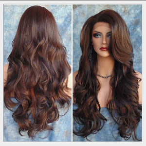 28 Inch Brown Wig Full Lace Cosplay Wig Wavy Curly Women Wig Heat Resistant Wig For White