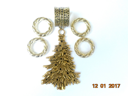Elegant Scarf Jewelry Necklace Green Gold Christmas Tree Set For Scarf Jewelry Gift For Her S0723