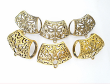 Load image into Gallery viewer, 6x Scarf Slides Gold Tone Daisy Butterfly 2 Style Each 3pcs S04545