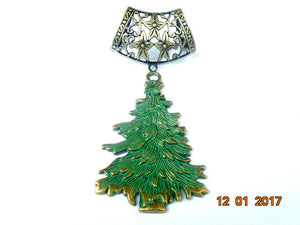Elegant Scarf Jewelry Necklace Green Gold Christmas Tree Set For Scarf Jewelry Gift For Her S654