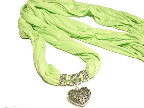 Green Scarf Pendant Scarf Heart Pendant with Green Long Scarf Sold Whole Set