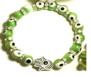 Fashion Jewelry Turkish Murano Evil Eye Bracelet with Blessing Hamsa Hand Stretch