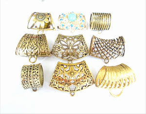 9 pcs Scarf Clip Jewelry Chips Slides Gold Tone For Making Scarf Necklace Essentials In Bulk