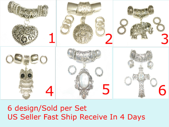 Shinning Scarf Jewelry Pendants 6 Design For Decorate Scarfs, Sold Per Set S03650
