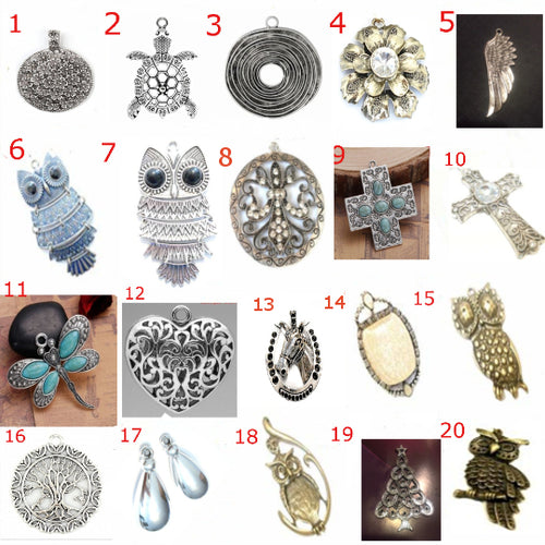 3x Scarf Necklace Jewelry Pendants Flower Butterfly Owl Elephant etc