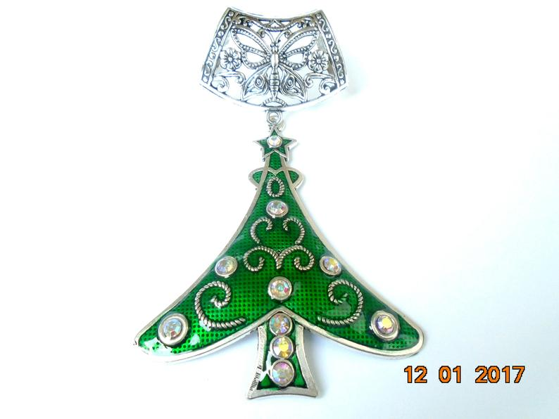 Christmas Tree Green Scarf Jewelry Set with Crystal Decoration Forest Necklace Mountain Necklace