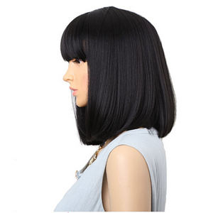 14 inch Wigs For Women Black Straight Wigs With Bangs Synthetic Wigs Bob Wig H23