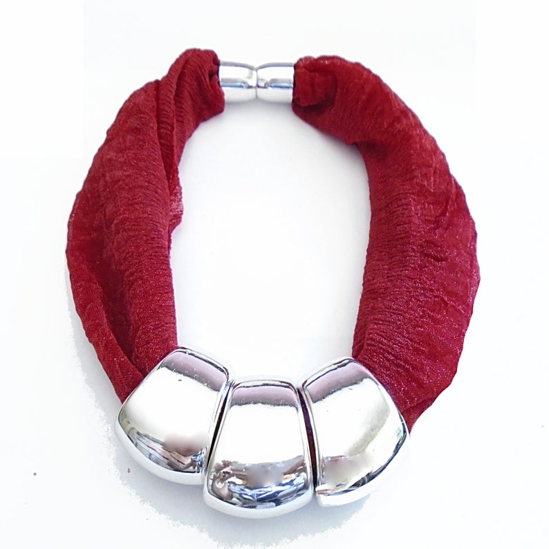 Infinity Beaded Scarf Handmade Dark Red Scarf Neck Silver Beads Strong Magnetic Closure Easy To Wear It Or Take Off Gift For Her SF07