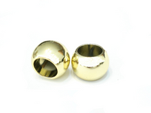 Load image into Gallery viewer, 12 Bright Gold Scarf Jewelry Beads Rings Loose Beads Plain Silver S02398