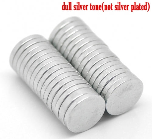 10x Silver Jewelry Magnets Round 10x1mm (3/8