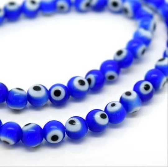 8mm 200pcs Royal Blue Evil Eye Beads Round To Make Bracelets Or Jewelry Necklace E33E32