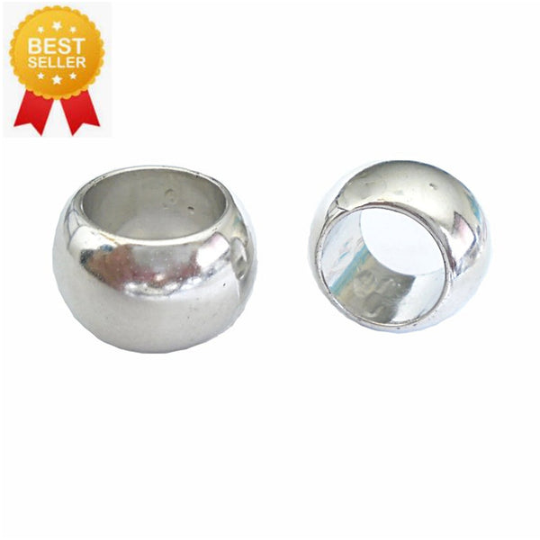 12 Bright Silver Scarf Jewelry Beads Rings Loose Beads Plain Silver S02395