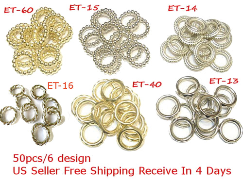 Wholesale Scarf Jewelry Accessory 6 Design Rings Slides Sold Per 100Pc 4 Days ET- 40 ET-15 ET-14 ET-16