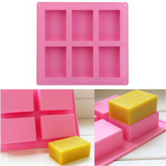 2x Soap Mold Silicone Soap Molds DIY Soap Mould Rectangle Soap Mold 6-Cavity Rectangle