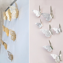 Load image into Gallery viewer, 24 pcs Butterfly Stickers Paper Butterfly Wall Decor Gold Silver