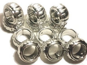 12pcs Silver Large Hole Beads Rings Striped Beads For Making Scarf Jewelry S0122