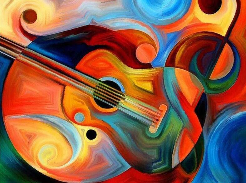 Abstract gitaar - Diamond Painting Planet