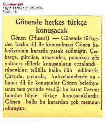 "Citizen, speak Turkish"" campaign on Cumhuriyet newspaper of Gönen dictrict of Balıkesir on May 21st of 1936"