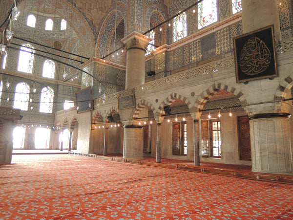 Blue mosque's walls are covered with Iznik tiles