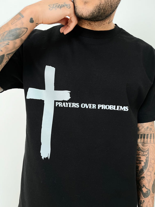 PRAYERS OVER PROBLEMS TSHIRT - 3M REFLECTIVE/BLACK