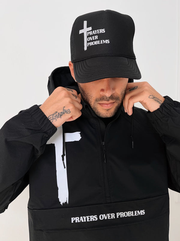 PRAYERS OVER PROBLEMS TRUCKER HAT - 3M REFLECTIVE/BLACKS