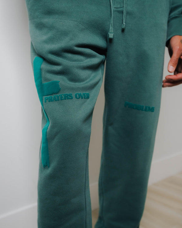 PRAYERS OVER PROBLEMS FLEECE PANTS - VINTAGE ALPINE GREEN