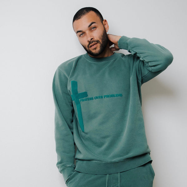 PRAYERS OVER PROBLEMS CREWNECK - VINTAGE ALPINE GREEN