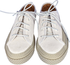 Brigata Sneakers In White Crackle Effect Leather