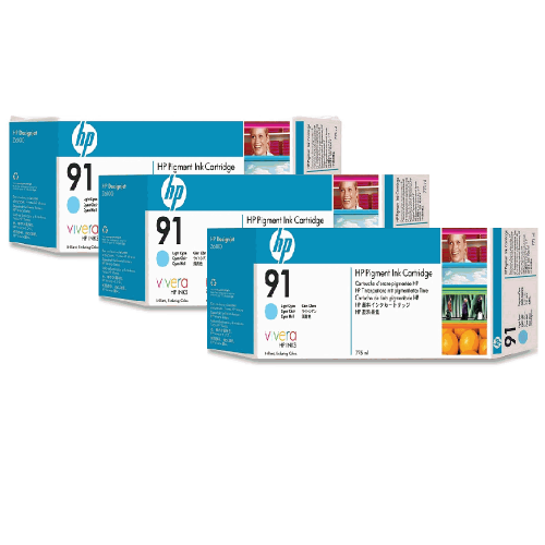 HP 91 Light Cyan 3 Pack Ink Cartridge