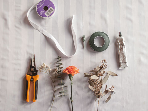 pruners, floral tape, ribbon for bouquet