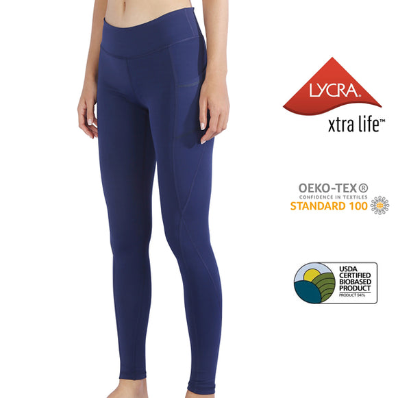 MET· AIR | Breathable Lycra Yoga Leggings with Side Pockets for Women (Prussian Blue)