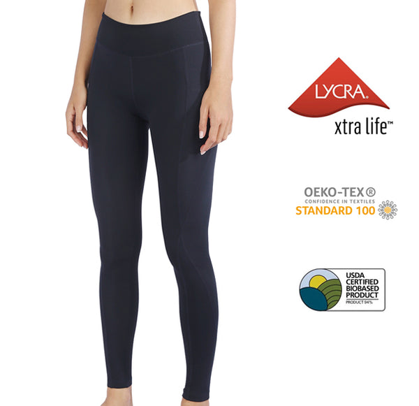 MET· AIR | Breathable Lycra Yoga Leggings with Side Pockets for Women (Classic Black)