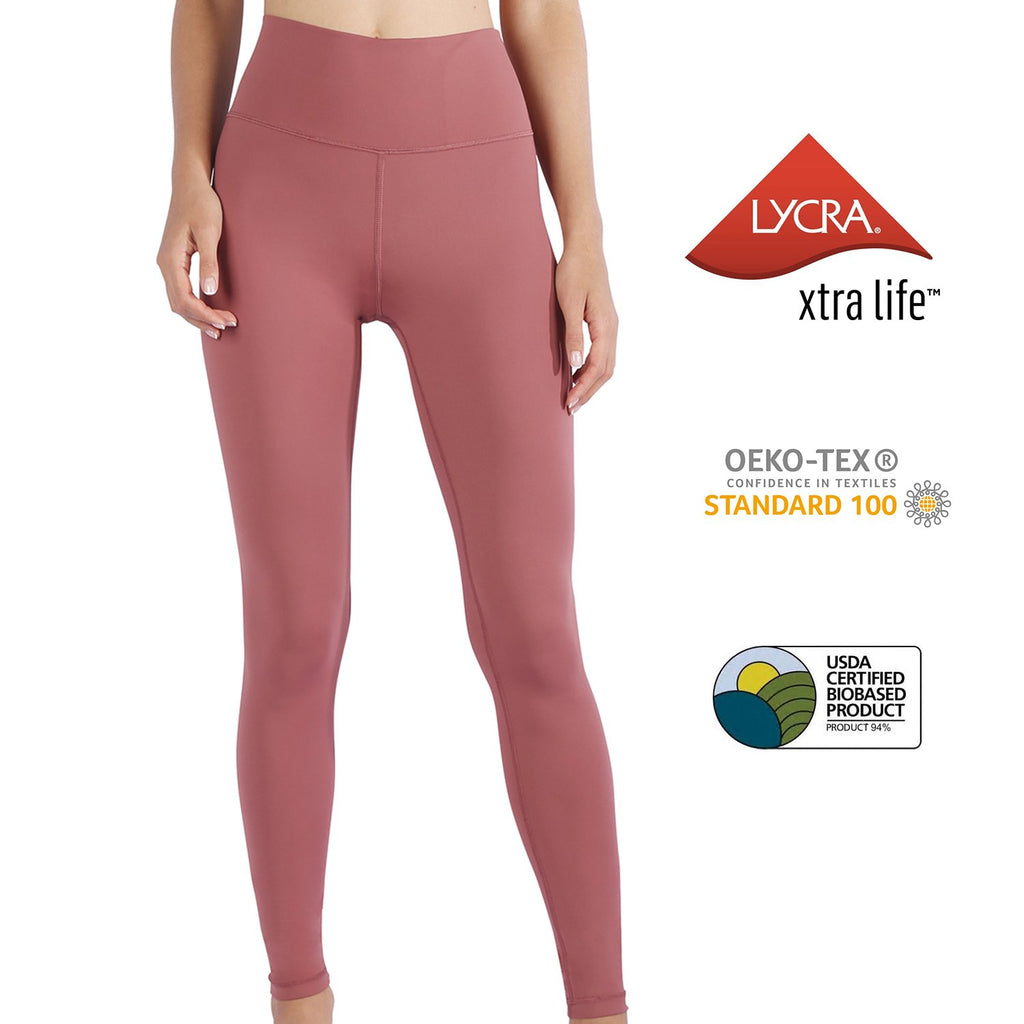 MET· SHAPE | Buttery-soft High Waist Tummy Control Yoga Leggings for Women (Mountbatten Pink)