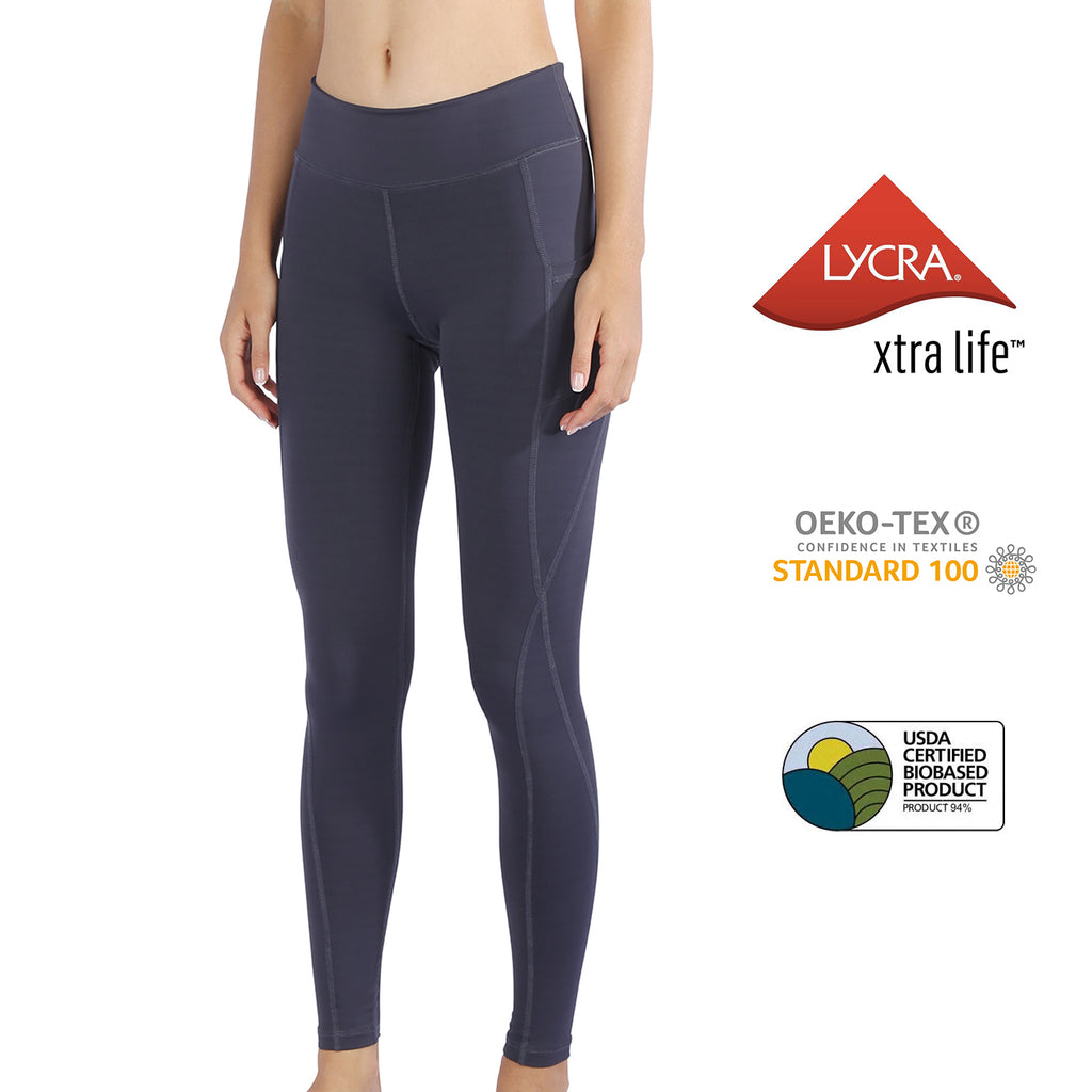 MET· AIR | Breathable Lycra Yoga Leggings with Side Pockets for Women (Quartz Grey)