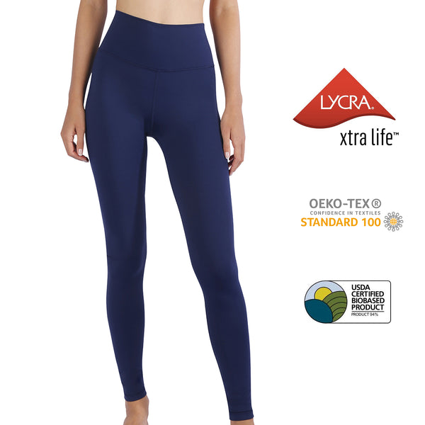 MET· SHAPE | Buttery-soft High Waist Tummy Control Yoga Leggings for Women (Prussian Blue)