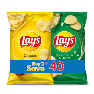 Lay's Regular + Sour Cream and Onion 6.5oz Save P40