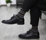 Men Business Cotton Stripe/ Plaid Socks/Cool Casual Dress Socks