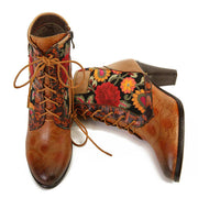 Embossed Stitched Lace Up High Heel Women Boots!