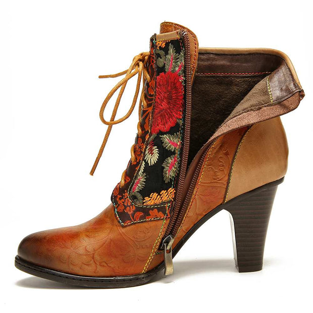 Embossed Stitched Lace Up High Heel Women's Boots!