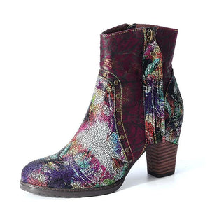 Printed Genuine Leather Women Ankle Boots!