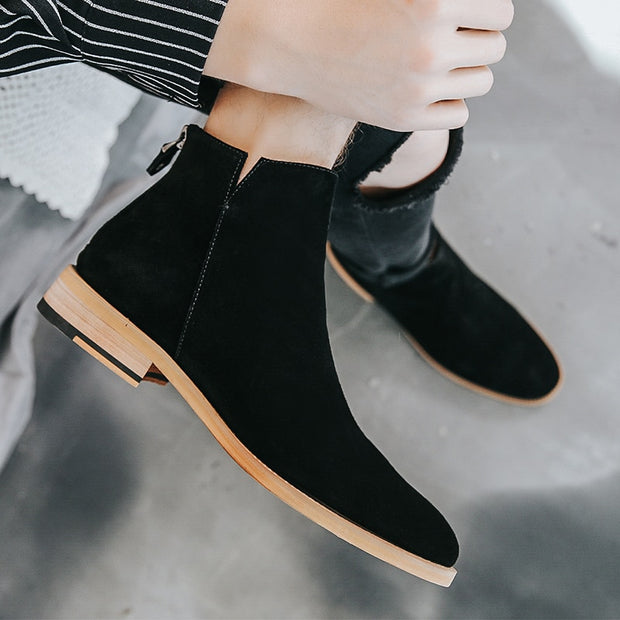 Vintage Sand Suede Chelsea Boots