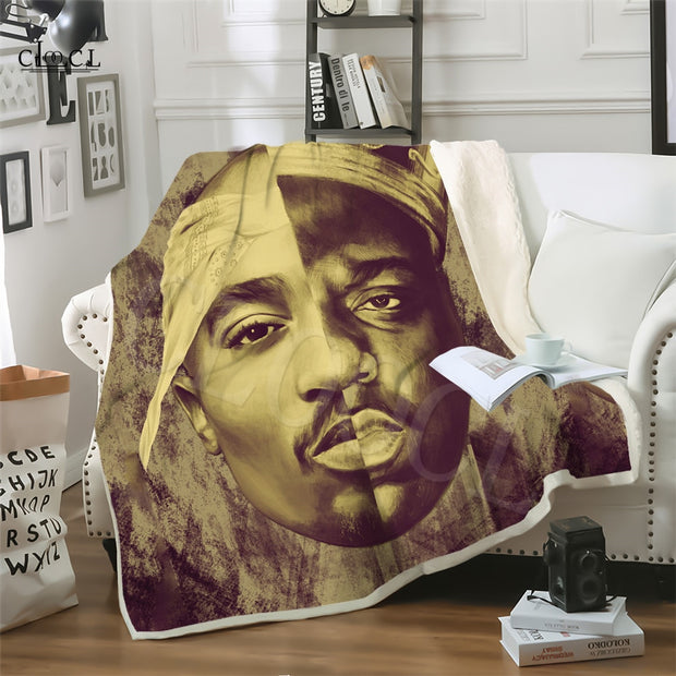 Two-layer Biggie Smalls and 2Pac Blankets