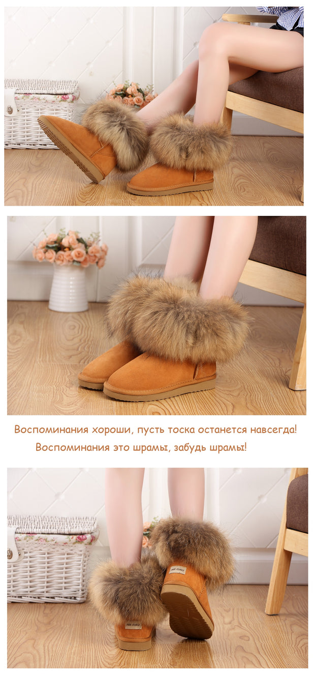 Women's Natural Fox Fur Winter Ankle Boots