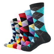 Men Colorful Combed Cotton Gift Socks (6 Pairs/lot )