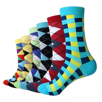 Men Colorful Combed Cotton Wedding Gift Socks (6 Pairs/lot )