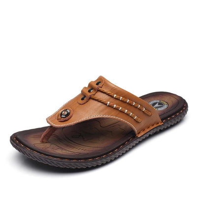 Cow Leather Fashionable Flip Flops With Soft Sole